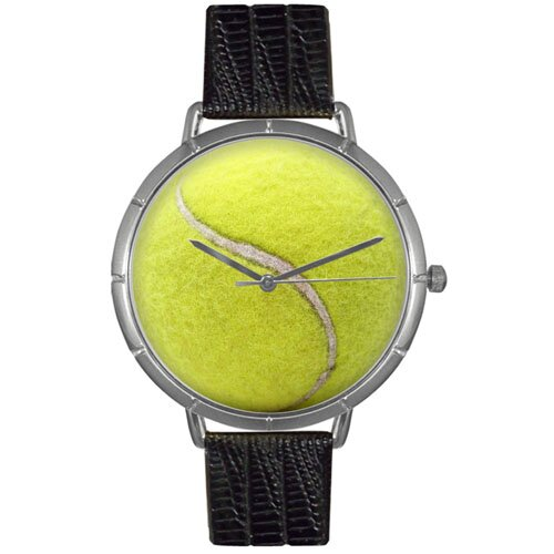 Whimsical Watches Unisex Tennis Lover Photo Watch with Black Leather