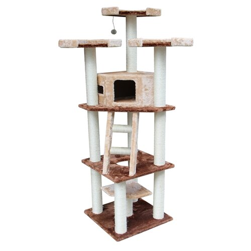 "Kitty Mansions 75"" Hollywood Cat Tree in Brown and Beige"