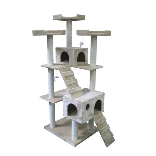 "Kitty Mansions 73"" Bel Air Cat Tree in Beige"