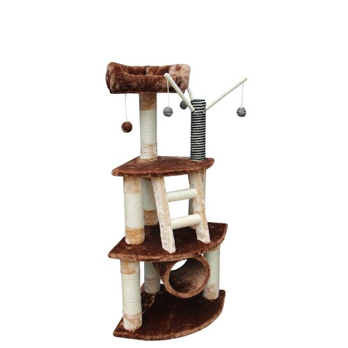 "Kitty Mansions 53"" Athens Cat Tree in Brown and Beige"