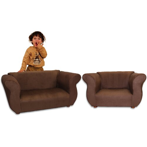 Kid's Fancy Microsuede Sofa and Chair Set