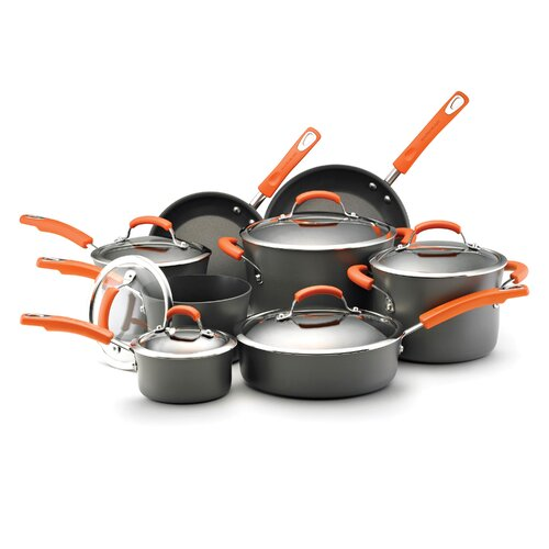 Rachael Ray Hard-Anodized II Dishwasher Safe Nonstick 14 Piece Cookware Set