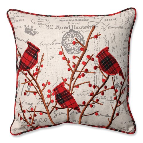 Pillow Perfect Holiday Embroidered Cardinals Throw Pillow & Reviews Wayfair