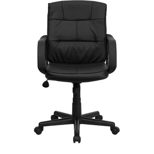Flash Furniture Low Back Leather Office Chair with Nylon Arms