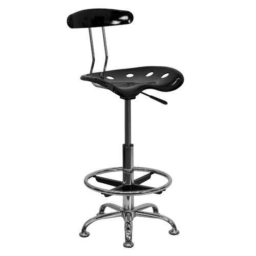 Flash Furniture Adjustable Height Drafting Task Chair with Chrome Base