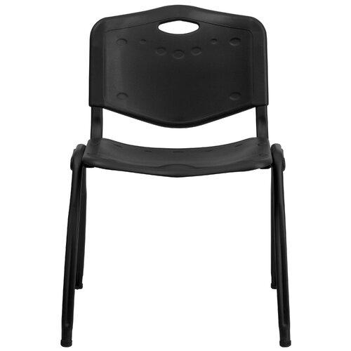Flash Furniture Hercules Series Polypropylene Stack Chair in Black