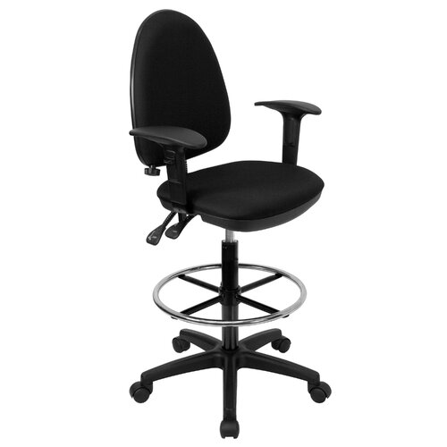 Flash Furniture Height Adjustable Drafting Stool with Lumbar Support