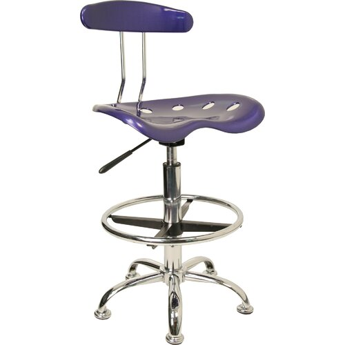 Flash Furniture Height Adjustable Drafting Task Chair with Chrome Base