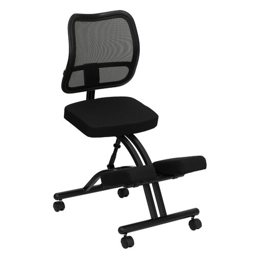 Flash Furniture Mobile Ergonomic Kneeling Chair with Black Curved Mesh Back and Fabric Seat
