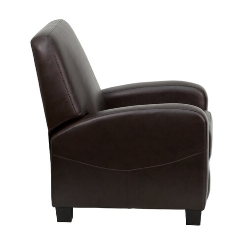 Flash Furniture Brown Leather Push Back Club Recliner