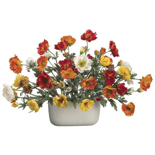 Allstate Floral Poppy in Oval Ceramic Container