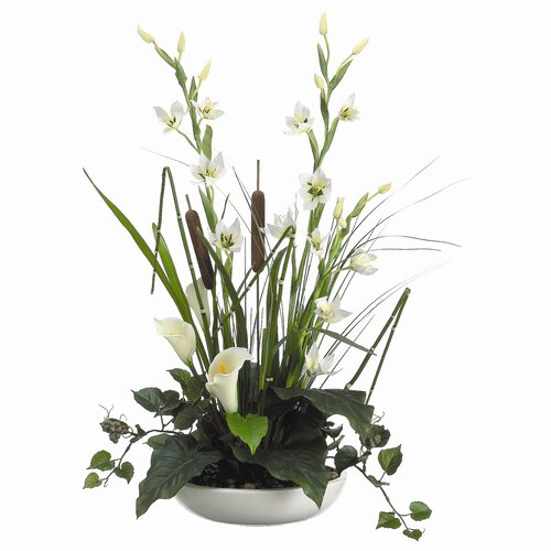 """Allstate Floral 19"""" Lily, Cattail, Ivy and Grass with Ceramic Container"""