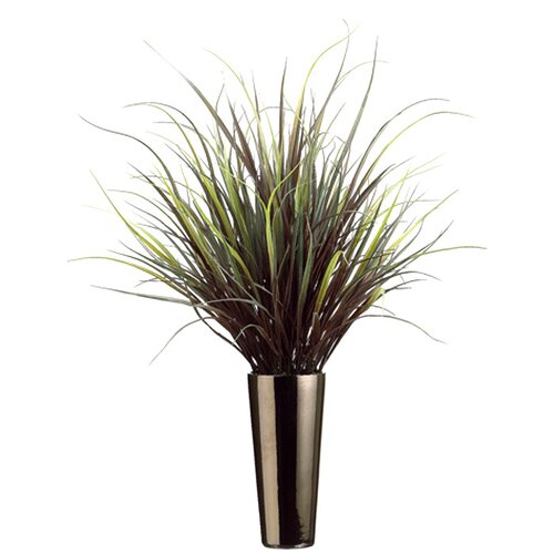 Allstate Floral Yucca Grass in Round Tapered Ceramic Decorative Vase