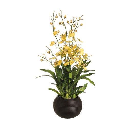"Allstate Floral 29"" Dancing Orchid with Sphere Vase in Yellow"