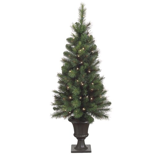 Bottlebrush 4' Green Artificial Christmas Tree with 70 Clear Lights with Urn