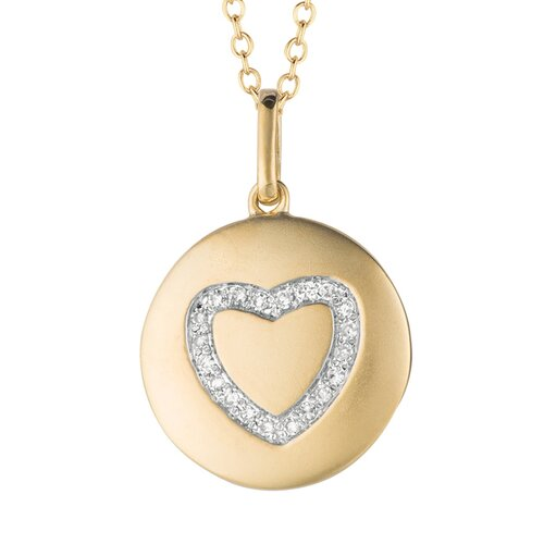 Silver on the Rocks Round Heart Pendant in Yellow Gold