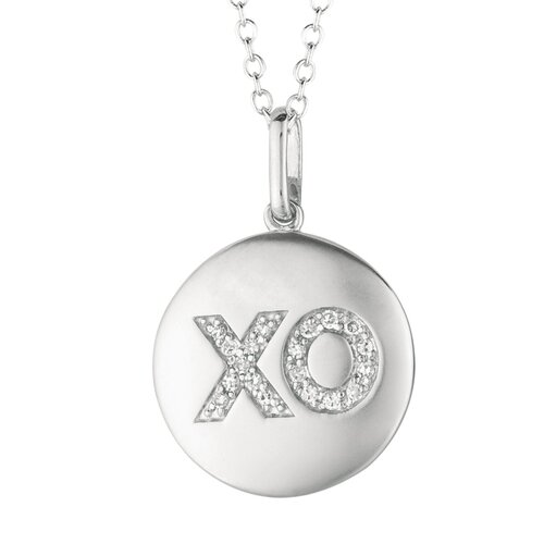 Silver on the Rocks Round Hugs and Kisses (XO) Pendant in Silver