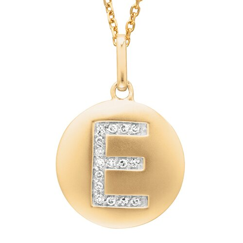 Silver on the Rocks Round Initial E Pendant in Yellow Gold