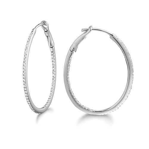 Silver on the Rocks Micro Prong Sterling Silver Diamond 0.26CT Oval Hoop Earring