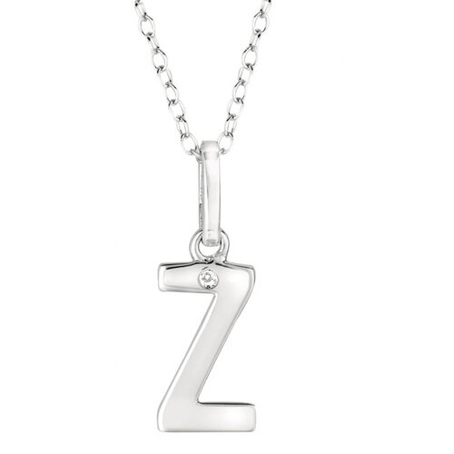 Silver on the Rocks Sterling Silver 0.005CT TDW Diamond Initial Necklace