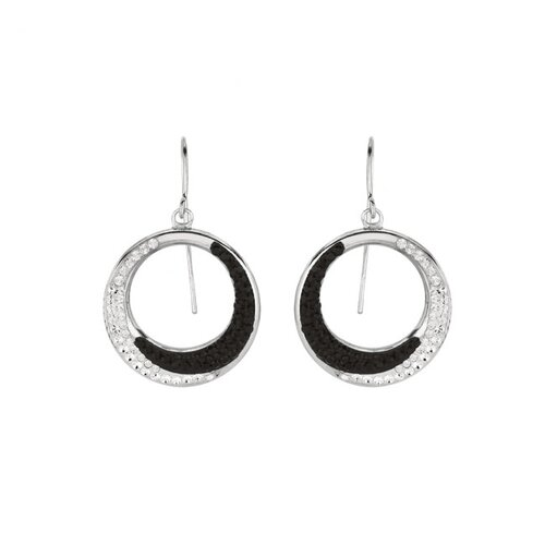 Sterling Silver Crystal Circle Dangle Earring