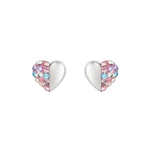 Silver on the Rocks Sterling Silver 32 Crystal Heart Stud Earring