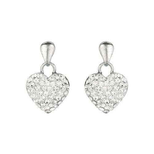 Sterling Silver Crystal Heart Post Earring