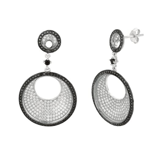 Micro-Set 452 Cubic Zirconium Round Shape Dangle Earring