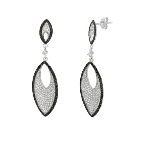 Micro-Set 400 Cubic Zirconium Navette Shape Dangle Earring