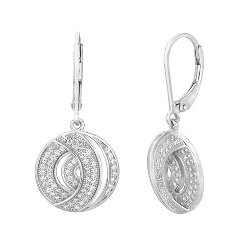 Micro-Set 126 Cubic Zirconium Round Shape Dangle Earring