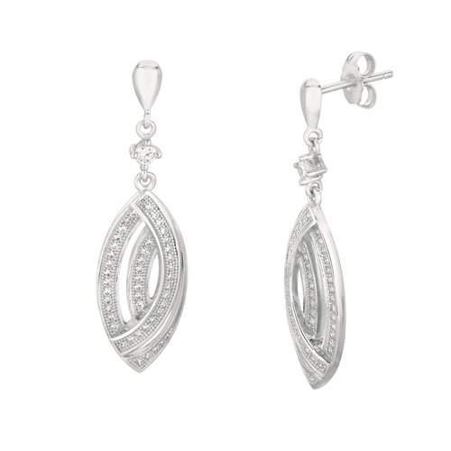 Micro-Set 92 Cubic Zirconium Navette Shape Dangle Earring