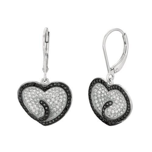 Silver on the Rocks Micro-Set Cubic Zirconium Heart Shape Dangle Earring