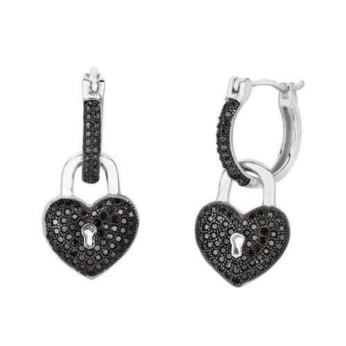 Micro-Set Cubic Zirconium Heart with Key Hole and Dangle Key Shape Dangle Earring