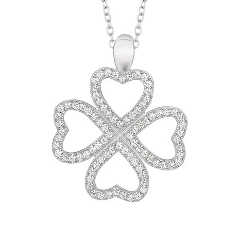 Sterling Silver Micro-Set Cubic Zirconium Clover Hearts Necklaces