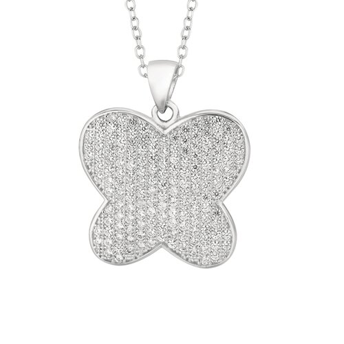 Sterling Silver Micro-Set Cubic Zirconium Butterfly Necklaces