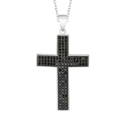 Silver on the Rocks Sterling Silver Micro-Set 117 Cubic Zirconium Cross Necklaces
