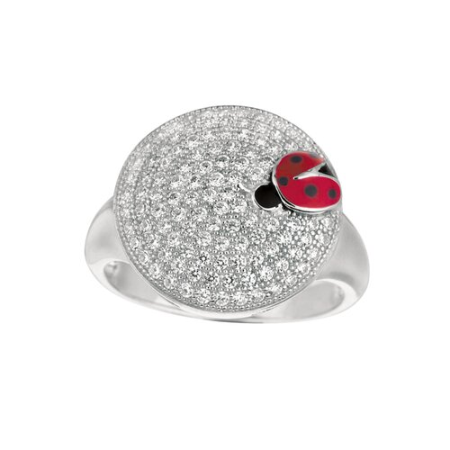 Silver on the Rocks Sterling Silver Micro-Set Cubic Zirconium Oval with Lady Bug Fashion Ring