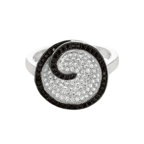 Silver on the Rocks Sterling Silver Micro-Set 137 Cubic Zirconium Round Fashion Ring