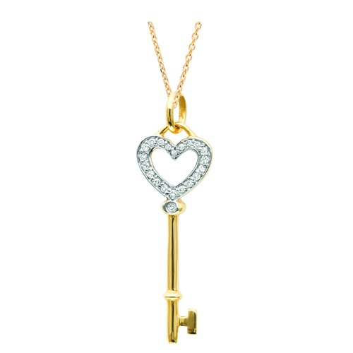 """Juliette Collection 0.39"""" Heart Key Pendant in Yellow Gold"""
