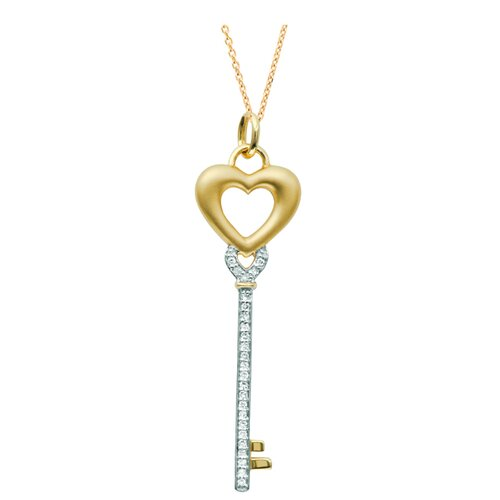 """Juliette Collection 0.43"""" Heart Key Pendant in Yellow Gold"""