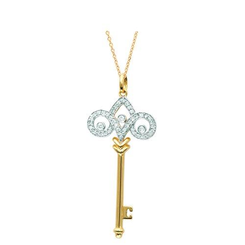 """Juliette Collection 0.67"""" Fleur De Lis Pendant in Yellow Gold"""