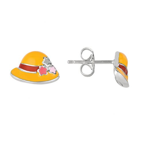 Juliette Collection Sterling Silver and Enamel Hat Earring