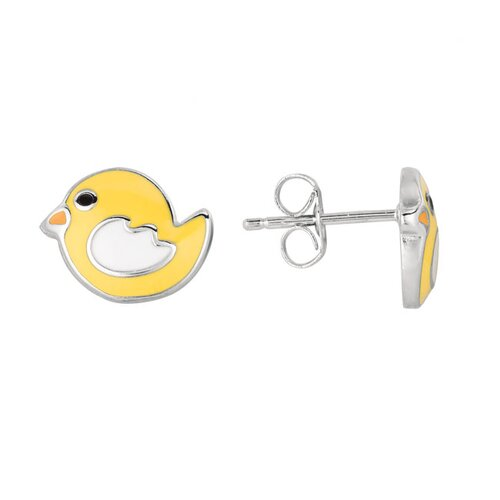 Juliette Collection Sterling Silver and Enamel Chick Earring