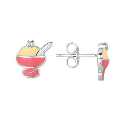 Juliette Collection Sterling Silver and Enamel Ice Cream Earring