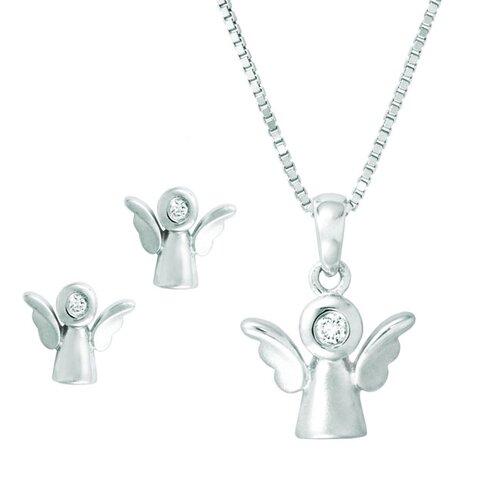Sterling Silver Angel Cubic Zirconia Jewelry Set