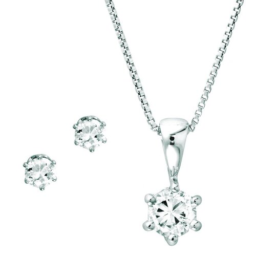 Sterling Silver Octagon Cubic Zirconia Jewelry Set