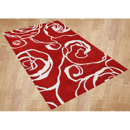 Alliyah Rugs New Delhi Geometric Ivory/Red Rug