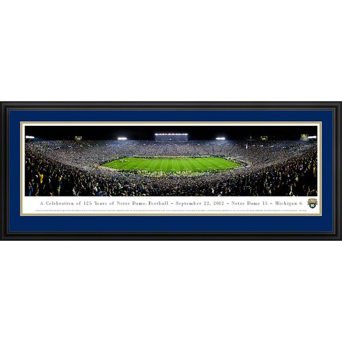 Blakeway Worldwide Panoramas, Inc NCAA University of Notre Dame - 125 Night Deluxe Framed Photographic Print