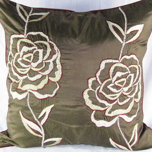 Design Accents LLC Silk Pillow with Rose Embroidery Motif