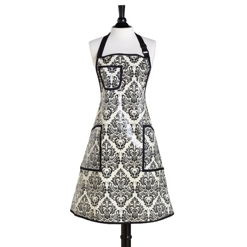 Cream and Black Damask EVA Coated Bib Chef's Apron